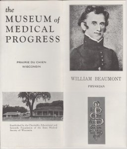 Museum of Medical Progress Vtg Brochure, Prairie du Chien, WI, William Beaumont