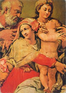Postcard Painting artist portrait Holy family and holy Ecaterina