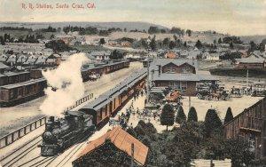 Railroad Station SANTA CRUZ, CA Train Depot Hand-Colored 1907 Vintage Postcard