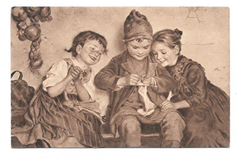 M Wunsch Artist Aller Anfang ist Schwer Children Knitting Sepia Art Postcard