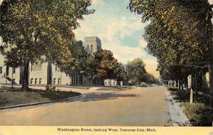 Traverse City Michigan~Washington Street West~Church on Corner~1912 Postcard