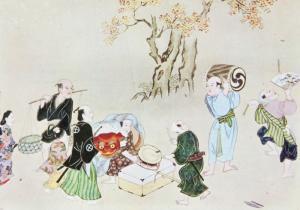 Musicians and Dancers Hishikawa Morofusa Art Artwork Japanese Postcard D31