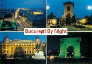 Postcard Romania Bucuresti multi view noaptea banca comerciala romana centru arc