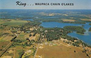 King Wisconsin aerial view Waupaca Chain O'Lakes vintage pc Z47189
