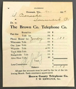 1914 Brown Country Telephone Company Denmark WI Bill Invoice Receipt