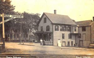 1910 Rock MA Railroad Crossing Store & Post Office Real Photo Postcard