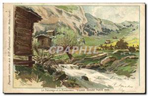 Old Postcard Switzerland pasture and creek Swiss Village Paris 1900