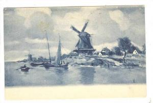 Partial Scene, Windmills, Fishing Boats, 1900-1910s