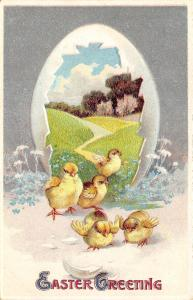 Easter Egg Panorama~Chicks Hop Out of Shell Portal~Lovely Meadow~Emboss~Germany