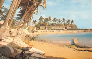 San Juan Puerto Rico Beach Club Waterfront Vintage Postcard K30542