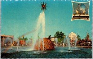 1964 NEW YORK WORLD'S FAIR Expo Postcard THE SOLAR FOUNTAIN Chrome Unused