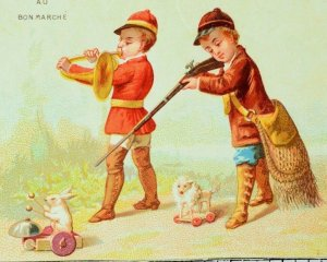 Lovely Boys Hunting Cute Rabbit Dog Pull Toy Rifle Bugle Paris Trade Card F87