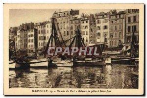 Old Postcard Marseille a corner Port Fishing Boat in Saint John