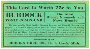 Brooks Drug Company Burdock Tonic Compound coupon - 1911
