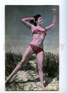 128960 BELLE Woman in SWIMSUIT on Beach Vintage PHOTO Tinted