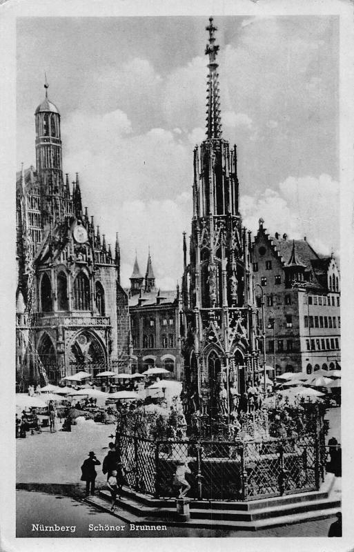 Nurnberg Schoner Brunnen Fountain Market Place Postcard