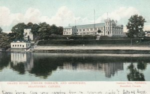 BRANTFORD , Ontario , PU-1906; Grand River, Armouries and Terrace, version 2
