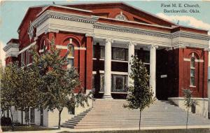 Oklahoma OK Postcard c1910 BARTLESVILLE First M.E. CHURCH Building