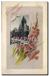 Old Postcard Fancy Glückliches Neujahr! Swiss Basel