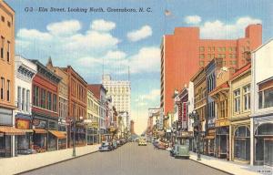 Greensboro North Carolina Elm Street Scene Antique Postcard K53696