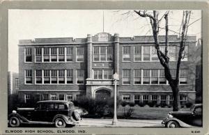 Art Deco Elwood High School IN~Nice 1940s Cars~Wayne Publishing Gray Border