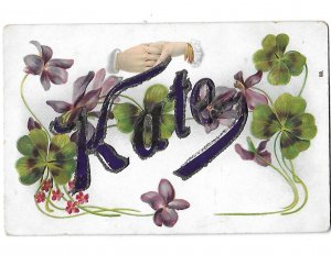 Kate in Purple Glittered Letters Two Hands Clasped, Violets & Clovers
