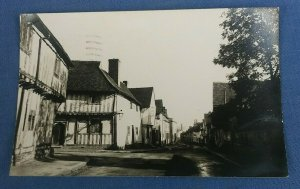 Vintage Real Photo Postcard  Water Street Lavenham Suffolk Postmarked 1954 B1D