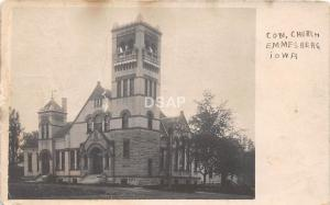 C1/ Emmesberg Iowa Ia Real Photo RPPC Postcard c1910 Congregational Church