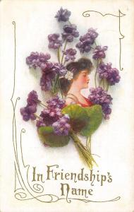 Lovely Winsch Lady in Red Framed In Purple Violets~Gold Leaf Art Nouveau~A-384
