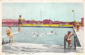 B80/ Fort Knox Kentucky Ky Postcard 1936 Swimming Pool Bathers 1