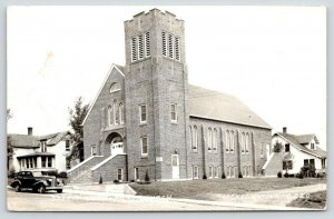 Jackson Minnesota~Salem Lutheran Church~Homes Both Sides~1930s Car~1947 RPPC