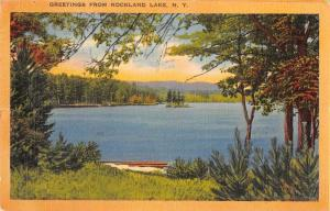 Rockland Lake New York Greetings Scenic View Linen Vintage Postcard JD933975