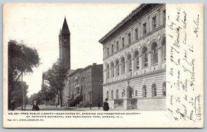 Newark NJ~Washington Street Library~Second Presbyterian Church~1906 Postcard
