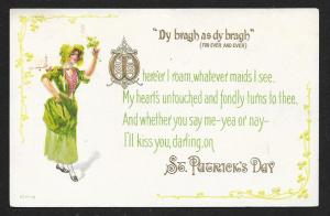 St Patricks Day Lady in Green Unused c1910s