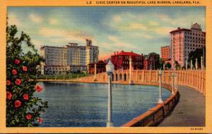 Florida Lakeland Civic Center On Lake Mirror 1948 Curteich
