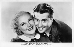 Don Ameche and Sonja Henie in One in a Million Fox Production Postcard
