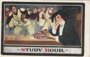 STUDY HOUR; PU-1909; Daydreaming Teacher, football players