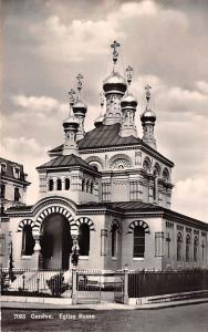 Switzerland Old Vintage Antique Post Card Geneve Eglise Russe Real Photo Unused