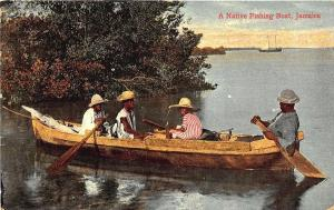 A Native Wooden Fishing Boat Kingston Jamaica Postcard