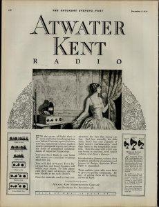 1924 Atwater Kent Radio Women Holding Curtins Radio Vintage Print Ad 3961