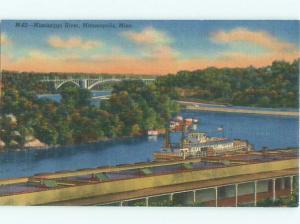 Linen BOAT ON THE MISSISSIPPI RIVER Minneapolis-St. Paul Minnesota MN AE6369@