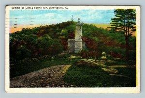 Gettysburg PA, Summit Of Little Round Top, Vintage Pennsylvania c1937 Postcard