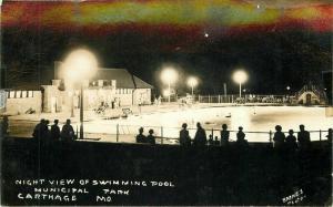 Carthage Missouri Night View Swimming Pool 1940s RPPC Photo Postcard 5761