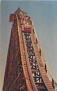 F56/ Cedar Point Amusement Park Ohio Postcard Blue Streak Roller Coaster