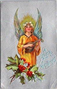 1910s MERRY CHRISTMAS Embossed Greetings Postcard ANGEL Playing Lute - UNUSED