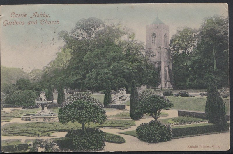 Northamptonshire Postcard - Castle Ashby Gardens and Church    DC1092
