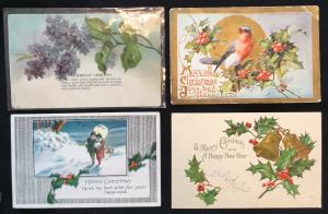 Postcard (4) Unused Christmas Newsboys/Holly-Bird/Couple/Holly LB