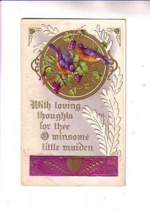 Embossed, Birds, Loving Thoughts, Winsome Maiden, Flag Cancel
