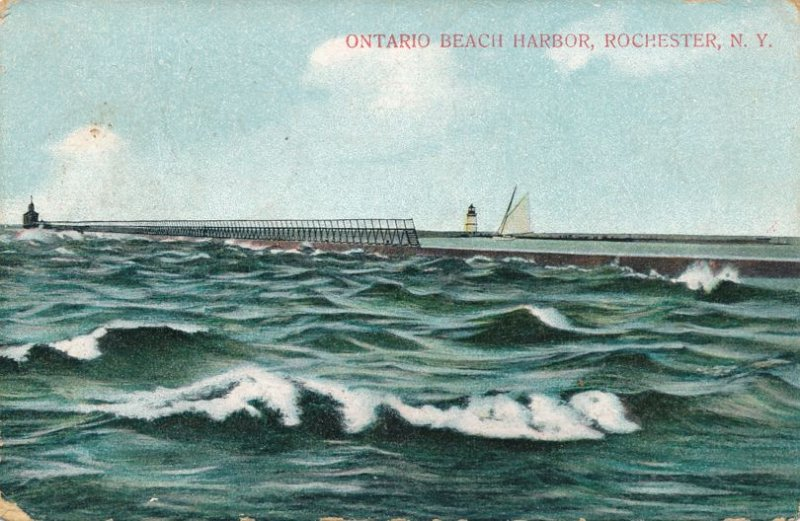 Ontario Beach Harbor with Lighthouses - Rochester, New York - pm 1908 - DB