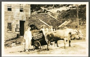 1930s Norris Tennessee 18th Century Grist Mill RPPC Postcard Ox Cart Delivery